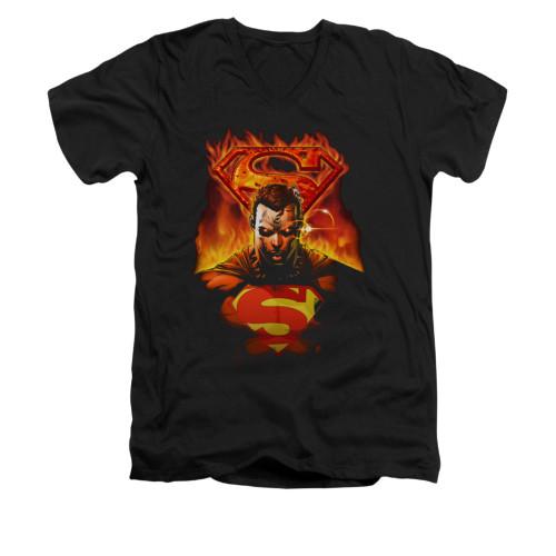 Image for Superman V Neck T-Shirt - Man On Fire