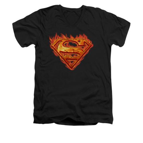 Image for Superman V Neck T-Shirt - Hot Metal