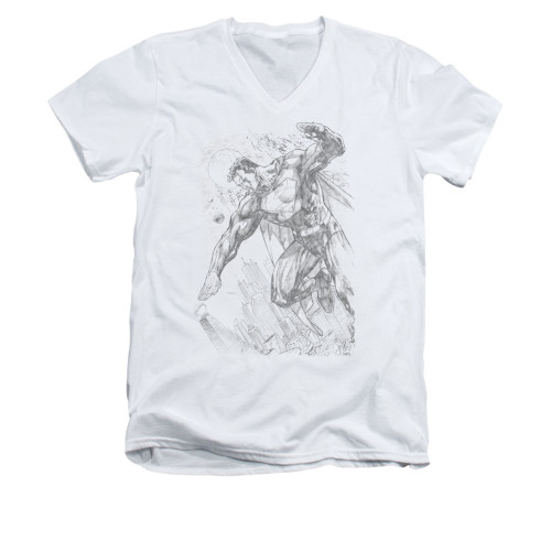 Image for Superman V Neck T-Shirt - Pencil City To Space