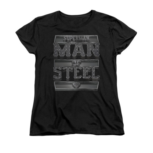 Image for Superman Womans T-Shirt - Steel Text