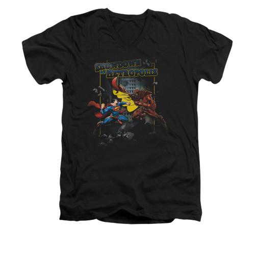 Image for Superman V Neck T-Shirt - Showdown