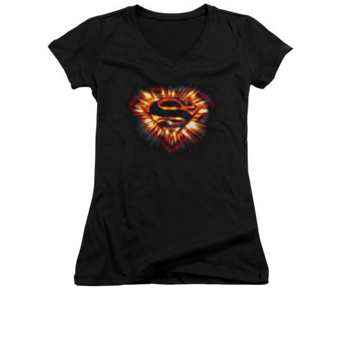 Image for Superman Girls V Neck - Space Burst Shield