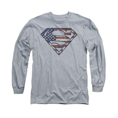 Image for Superman Long Sleeve Shirt - Wartorn Flag