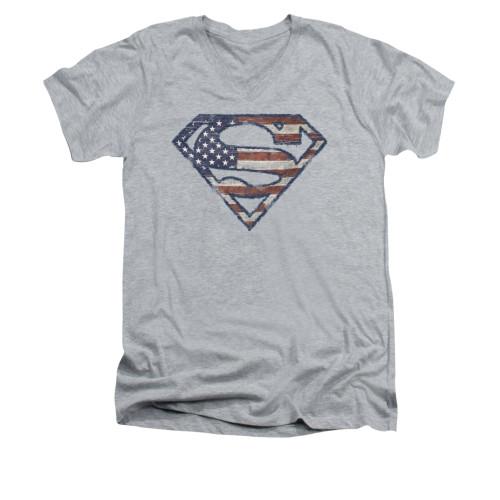 Image for Superman V Neck T-Shirt - Wartorn Flag