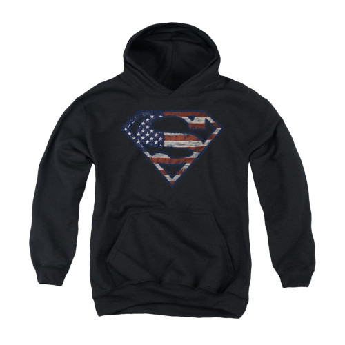 Image for Superman Youth Hoodie - Wartorn Flag