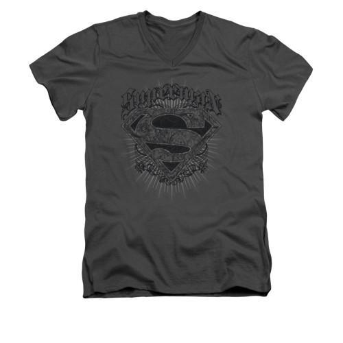 Image for Superman V Neck T-Shirt - Scrolling Shield