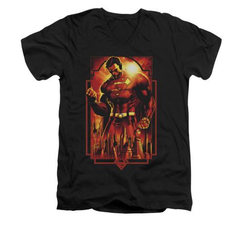 Image for Superman V Neck T-Shirt - Metropolis Deco