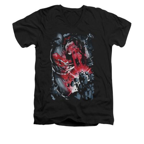 Image for Superman V Neck T-Shirt - Heat Blast
