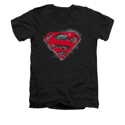 Image for Superman V Neck T-Shirt - Hardcore Noir Shield