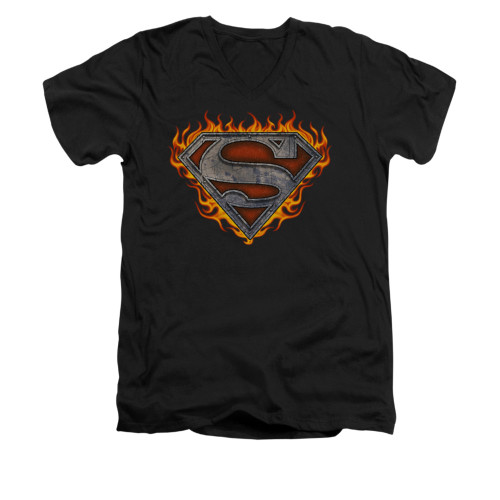 Image for Superman V Neck T-Shirt - Iron Fire Shield