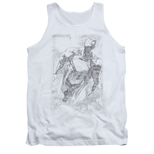 Image for Superman Tank Top - Exploding Space Sketch