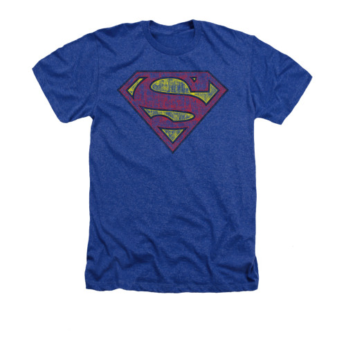 Image for Superman Heather T-Shirt - Tattered Shield