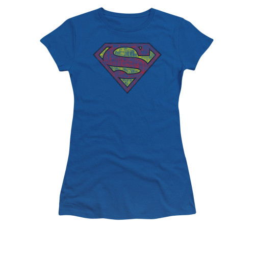 Image for Superman Girls T-Shirt - Tattered Shield