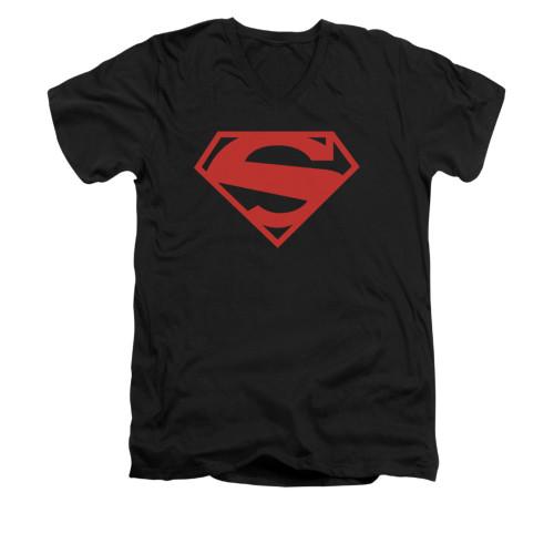 Image for Superman V Neck T-Shirt - 52 Red Block