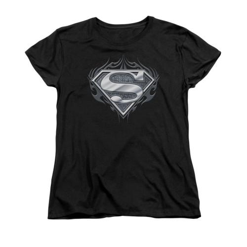 Image for Superman Womans T-Shirt - Biker Metal