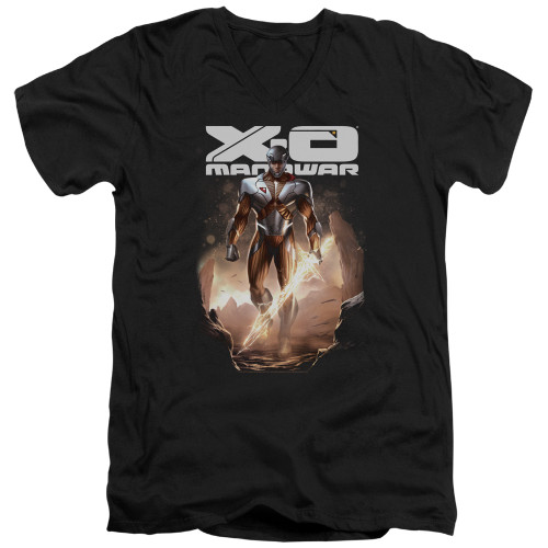 Image for X-O Manowar V Neck T-Shirt - Lightning Sword