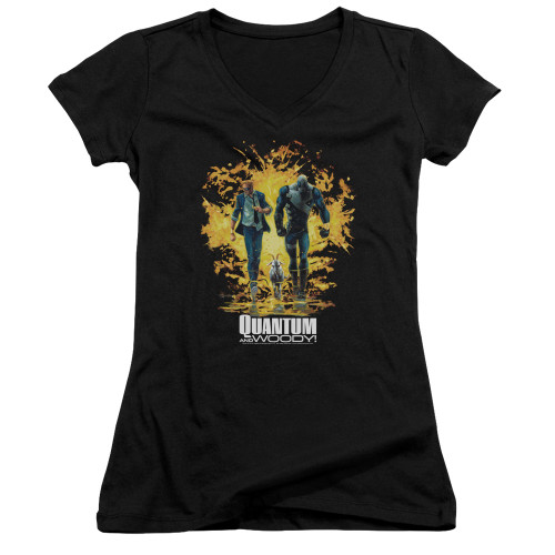 Image for Quantum and Woody Girls V Neck - Explosion
