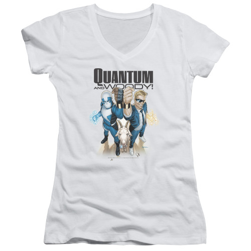 Image for Quantum and Woody Girls V Neck - Fists Up!
