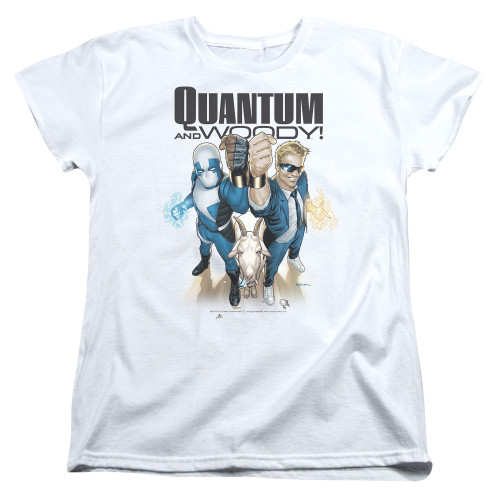 Image for Quantum and Woody Womans T-Shirt - Fists Up!
