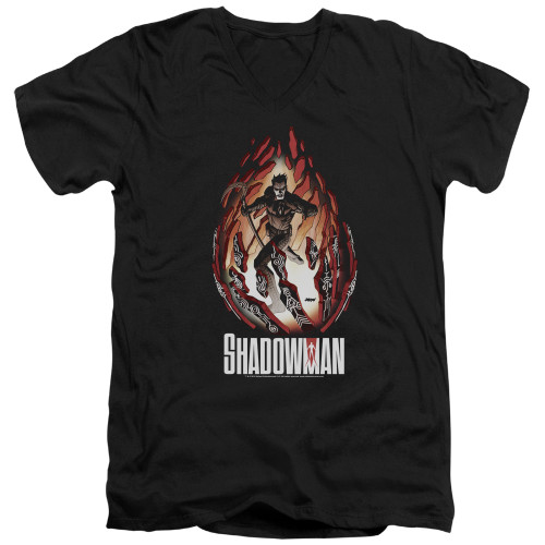 Image for Shadowman V Neck T-Shirt - Burst