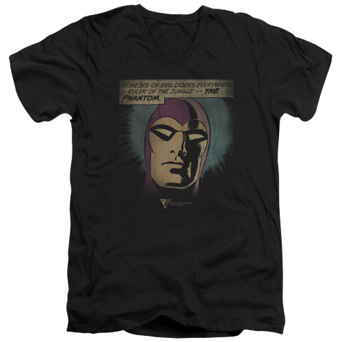 Image for The Phantom V Neck T-Shirt - Evildoers Beware