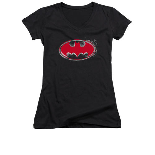 Image for Batman Girls V Neck - Hardcore Noir Bat Logo