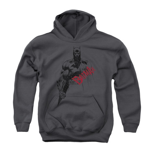 Image for Batman Youth Hoodie - Sketch Bat Red Logo