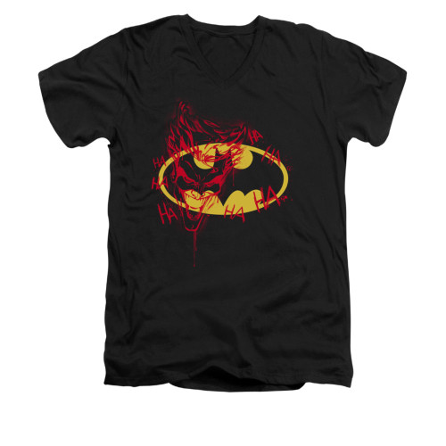 Image for Batman V Neck T-Shirt - Joker Graffiti