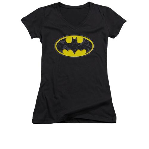 Image for Batman Girls V Neck - Bats In Logo
