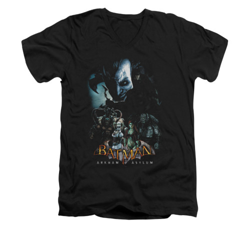 Image for Batman Arkham Asylum V Neck T-Shirt - Five Against One