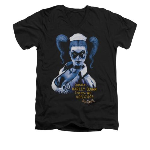 Image for Batman Arkham Asylum V Neck T-Shirt - Arkham Harley Quinn