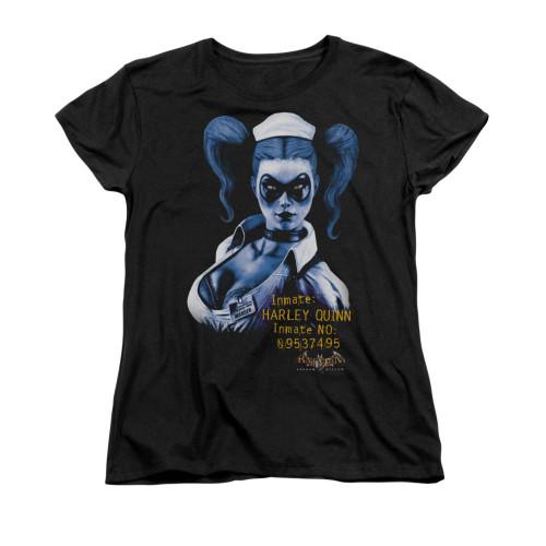 Image for Batman Arkham Asylum Womans T-Shirt - Arkham Harley Quinn