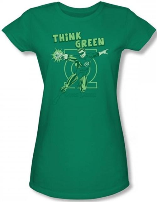 Image for Green Lantern Think Green Girls Shirt