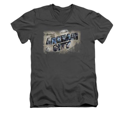 Image for Arkham City V Neck T-Shirt - Greetings From Arkham