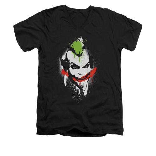 Image for Arkham City V Neck T-Shirt - Spraypaint Smile