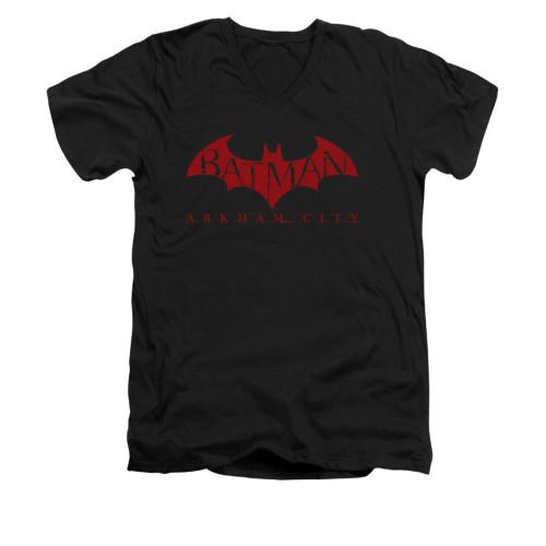 Image for Arkham City V Neck T-Shirt - Red Bat