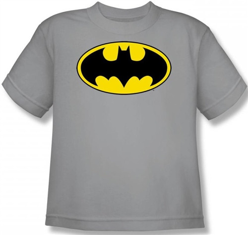 Image for Batman Youth T-Shirt - Logo on Silver