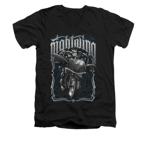 Image for Batman V Neck T-Shirt - Nightwing Biker