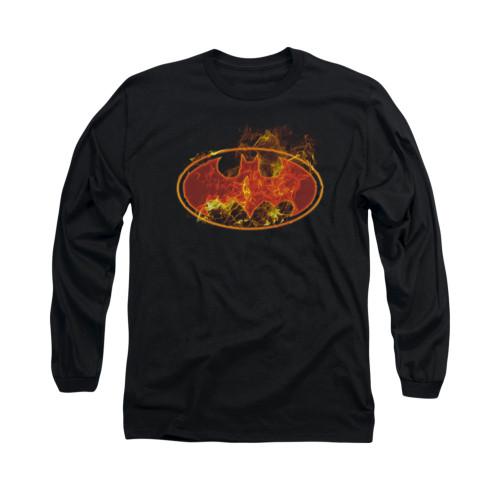 Image for Batman Long Sleeve Shirt - Flames Logo