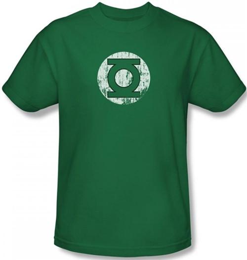 Image Closeup for Green Lantern Distressed Lantern Logo T-Shirt