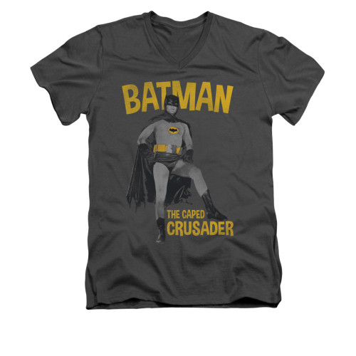 Image Closeup for Batman Classic TV V Neck T-Shirt - Caped Crusader