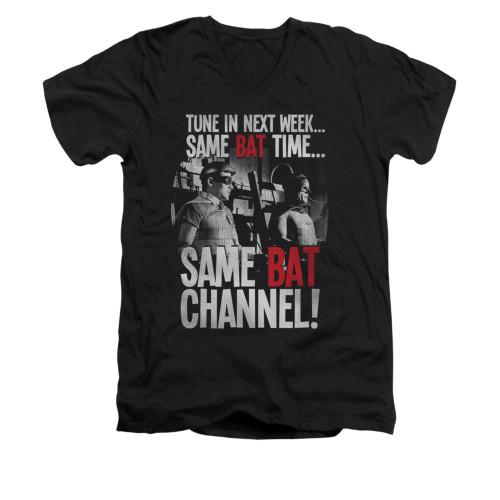 Image Closeup for Batman Classic TV V Neck T-Shirt - Bat Channel