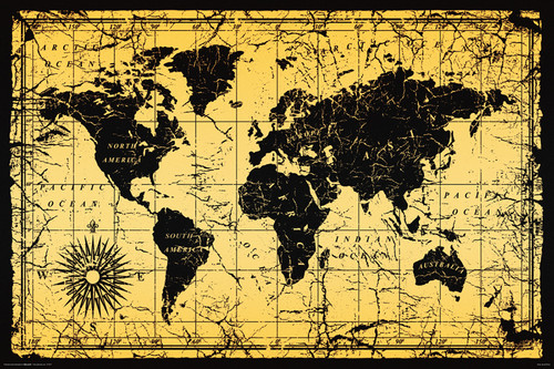 Image for World Map Old Style Poster
