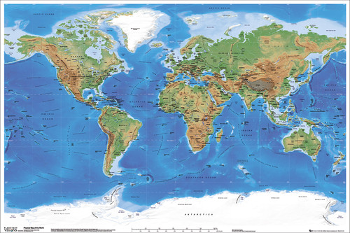 Image for World Map Physical Poster