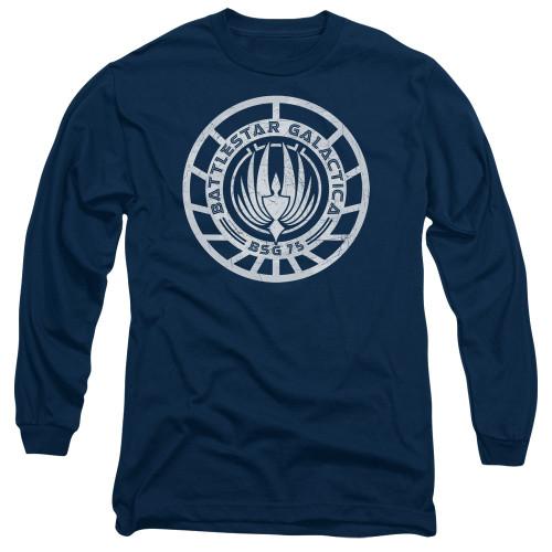 Image for Battlestar Galactica Long Sleeve Shirt - Scratched BSG Logo