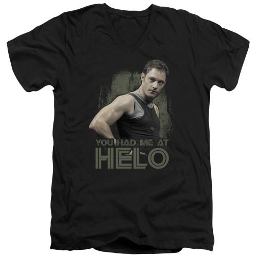 Image for Battlestar Galactica V Neck T-Shirt - You Had Me at Helo
