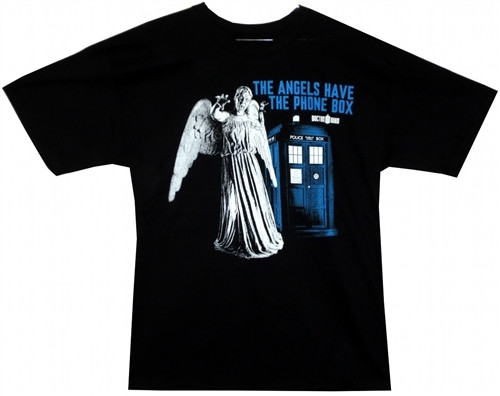 Image Closeup for Doctor Who T-Shirt - The Angels Have the Phone Box