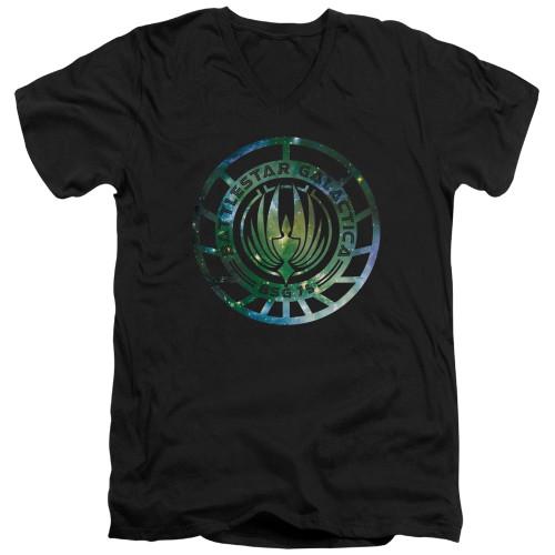 Image for Battlestar Galactica V Neck T-Shirt - New Galaxy Emblem