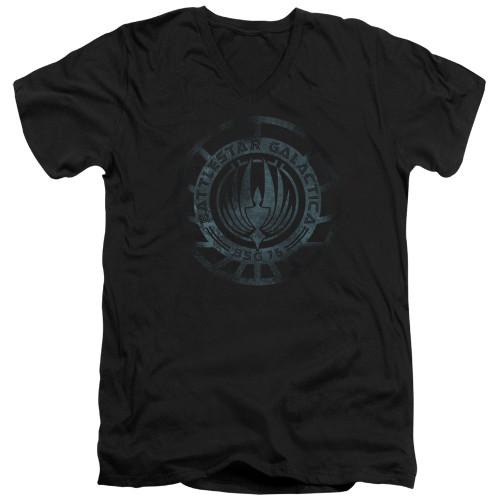 Image for Battlestar Galactica V Neck T-Shirt - Faded Emblem