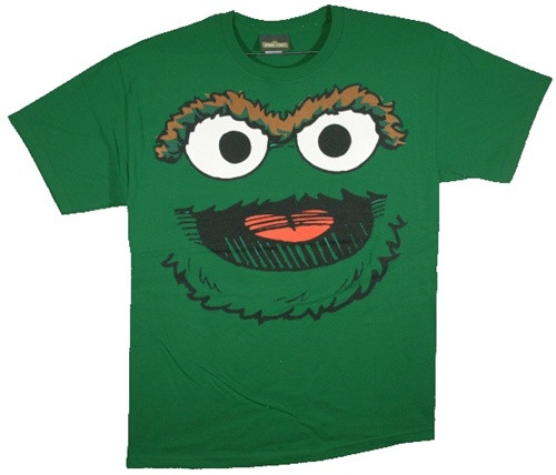 Image for Oscar the Grouch Smile Face T-Shirt
